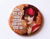 Pocket mirror, Funny pocket mirror, Perfect Hair, purse mirror, humor, funny saying, Red Damask, Retro design, Stocking Stuffer (5670)
