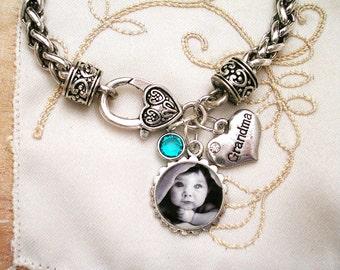 Photo Charm Bracelet, Mom Gift, Picture Bracelet, Grandmom Bracelet, Picture Charm Bracelet, Custom Photo Charm, Charm Bracelet, Birthstone