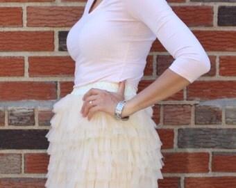 Celine - Tiered Tulle Skirt, Carrie Bradshaw Skirt in Champagne; Mini Tulle Skirt