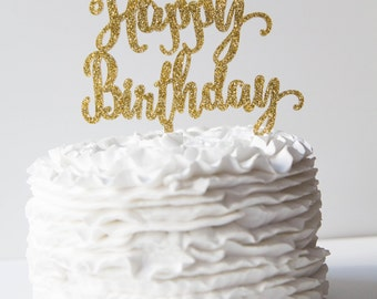 Happy Birthday Cake Topper - Ready to Ship - Gold Glitter - Silver Glitter  - Black Acrylic