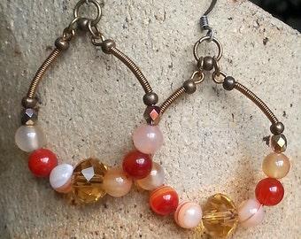Large boho hoop earrings with semi precious stones