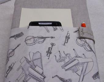 Linen cotton music themed Bible cover, case, purse, holder, accessory, natural, grand piano, violin, trumpet, saxaphone, orchestra, cello