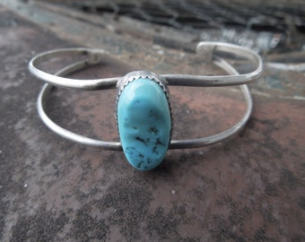 Sterling Silver Cuff Bracelet Native American Indian Turquoise Cuff