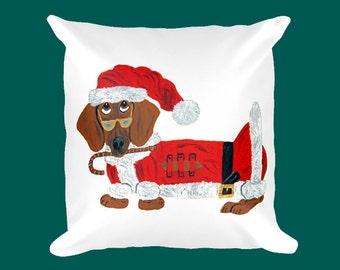 Dachshund Pillow/Dachshund (Red) Candy Cane Santa/Christmas/Doxie Santa/Squirreldumplings/Doxie Christmas Pillow/Dachshund Christmas Pillow