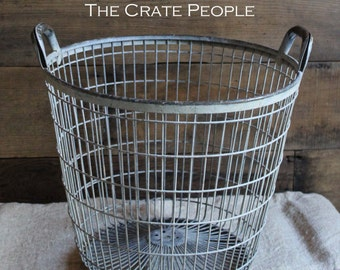 Vintage Galvanized Metal Potato Basket - Nice Weathered Patina - Tall ROUND Metal Gathering Baskets from Europe