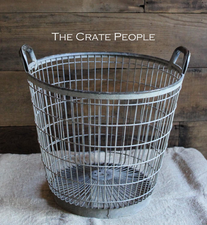 vintage galvanized metal potato basket nice weathered patina - 🔎zoom