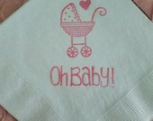 Oh Baby Buggy Tiny Heart Baby Shower Fresh Mint Cocktail Napkins Gender Reveal Party with Coral Sparkle Ink- Set of 50