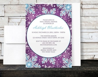 Winter Bridal Shower Invitations - Purple and Blue Snowflake Modern design - Printed Invitations