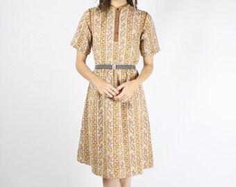 Paisley Vintage Dress, 70s Boho Shirt dress, Japanese vintage dress, Small