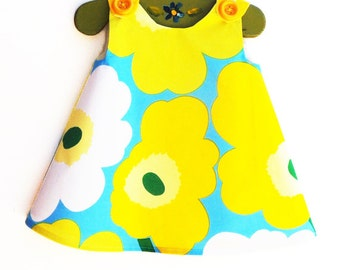 Marimekko Dress - Birthday - Yellow and White -  Infant Dress - Baby Shower - Speical Occasions - Handmade Childrens Fashion - 0 to 2T only