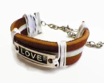 Inspirational Leather Cuff Bracelet 'Love' Statement on Genuine Latigo Leather..Adjustable to Any Size.  FREE US Shipping