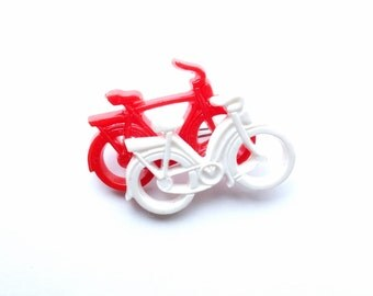 Vintage Cute White Red Bicycles Pin