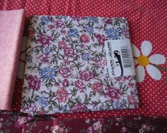 "Quarter flats  4  measure 18"" x 22"" 100% cotton,  3 burguny print, 1 flower print,"