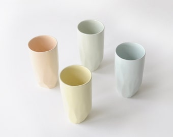 Geo Highball Tumblers in Rainbow Pastel- Set of 4