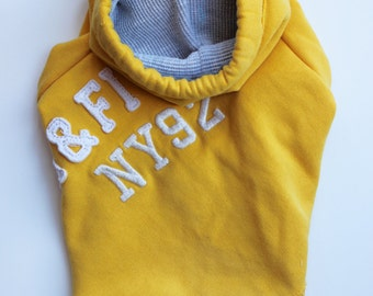 Yellow A&F Upcycled Dog Hoodie (XS)