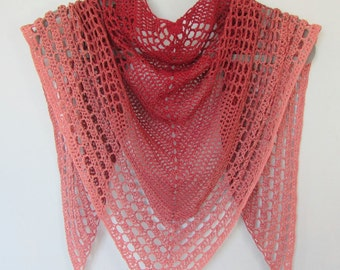 Pink Lace Fly Away Shawl crocheted handmade wrap