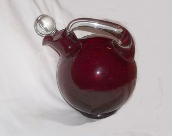 Art Deco Ruby Glass Decanter, Cambridge