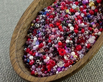 20g Czech seed beads Mixed red purple white seed beads MIX-18 Czech rocailles Seed bead soup seed beads