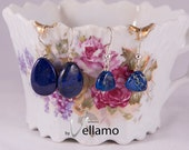 Bargain small earrings beautiful blue natural lapis lazuli tear drop gemstones ear rings, denim blue with flashy golden sparkle royal jasper
