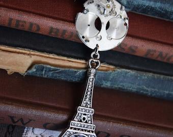 Steampunk Eiffel Tower, Steampunk Jewelry, Eiffel Tower Necklace, Steampunk Necklace, Paris Jewelry, Paris Necklace, Gear Jewelry, Deco Punk