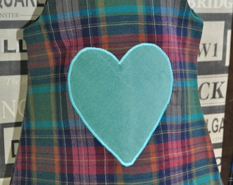 SALE: 0-6m Pinafore Dress, Colourful tartan, Made from Vintage fabrics with leather buttons.