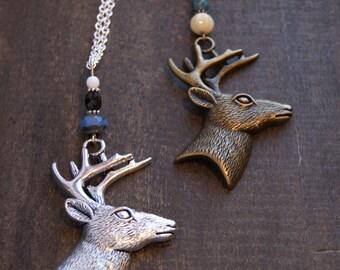 Stag Necklace Reindeer Necklace Caribou Antler Necklace Silver Stag Necklace Woodland Deer Necklace Antler Necklace Stag Antler Jewelry