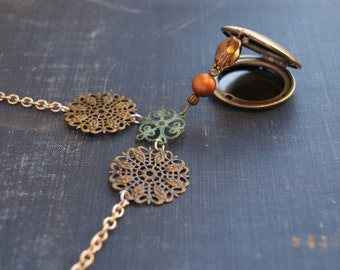 Victorian Steampunk Locket Steampunk Locket Necklace Medallion Locket Necklace Filigree Bib Necklace Antiqued Mixed Metal Necklace Victorian