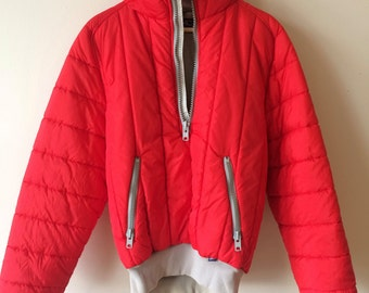 80s Red Puffy Ski Coat with Grey Ribbed Neck and Cuffs Half-Zip Mens Small