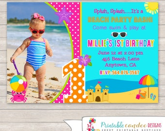 Girl Beach Birthday Invitation - Ocean Birthday - Pink Beach Party - Ocean Invitation - Girl Summer Birthday - DIY Custom Printable