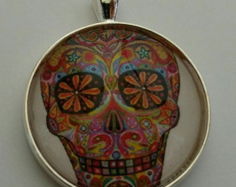 Day of the Dead-Dia de los Muertes-Halloween-Pendant-Keychain-Necklace-30mm Glass Dome-Shiny Silver Tray-Rolo Chain-Clasp-Psychedelic-Hippie