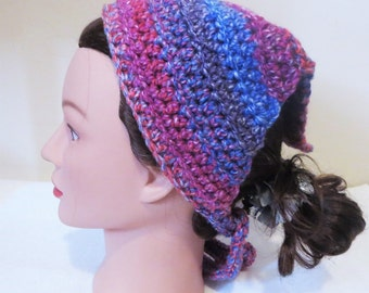 Mixed Berries Kerchief, Crochet Bandana, Tie On Kerchief, Head Covering, Veil