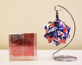 Red Bull Blue Edition with Red Origami Ornament.  Upcycled Recycled Repurposed Can Art.