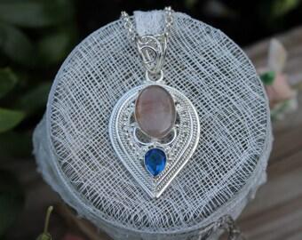 Reiki Attuned Rose Quartz Blue Crystal Silver Pendant Necklace