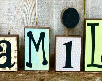 Family Chunky Wood Block Set, Family Wood Letter Blocks with Vinyl Lettering on Scrapbook Paper, Glitter, Family Letter Block