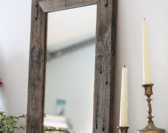 Pair of Mirrors - Rustic Wall Mirror - Small Wall Mirror - 18 x 24 Vanity Mirror - Bathroom Mirror - Rustic Mirror - Reclaimed Wood Mirror