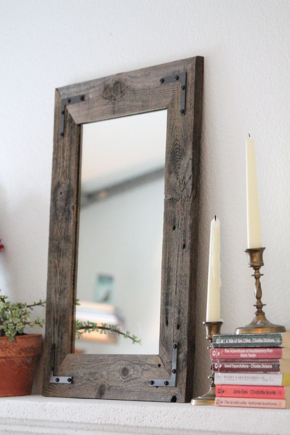 Pair of mirrors rustic wall mirror small wall mirror 18 for Rustic mirror