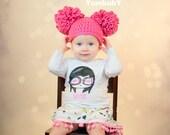 Pom Pom Hat - Pink Baby Photo Prop or Winter Beanie