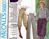 Women's Cropped or Long Pants and Kulottes Pattern- Size 16 - Mccall's 5680