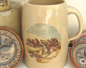Vintage Texas Pitcher, Marshall Pottery, Yesteryear Pattern, Cowboys and Indians, Crock Style, Hand-thrown on Potters Wheel, Beer Pitcher