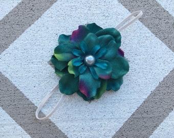 Turquoise flower headband~Flower headband~Elastic headband~Photo prop~Photography prop~Newborn prop