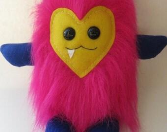 Plush Monster, Handmade Plush Monster, Furry Monster, Faux Fur Monster Plush, Handmade Plushies, Handmade Monster, Handmade Toy, Vampire