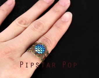 Blue Dragon Scale Rings (Adjustable ring, 2 colors) fantasy dragon ring, filigree Steampunk ring,mother dragon cosplay,dragon larp