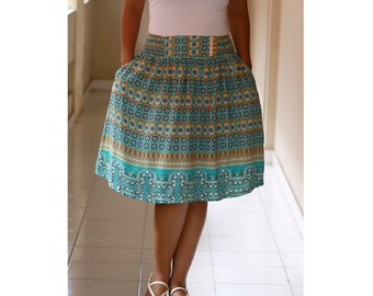 Floral Print Skirt / Green Floral Midi SKirt / Knee Length Skirt with Pockets