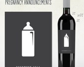 Pregnancy Announcement! Custom Wine Labels (Personalized) baby bottle with due date