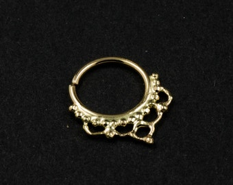 Septum ring - 14k yellow solid gold - Hummingbird -  septum ring - gold Nose Ring- nose jewelry - piercing jewelry
