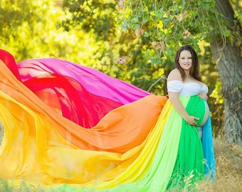 hope maternity gown rainbow dress photography prop chiffon gown available in plus