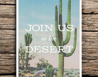 Join Us in the Desert Postcard Save the Dates // Wedding Saguaro Cactus Succulent Arizona Postcards Desert Mid Mod Rose Quartz Pantone