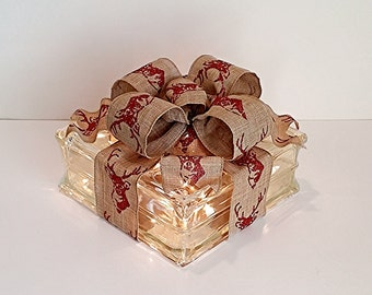 Light Up Glass Block / Present For Decoration With a Red Deer Bow