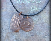 What a pair - zodiac symbol pendant necklace for couples  - artisan copper - Written in the Stars Love Match Jewelry