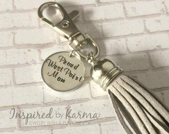 Proud West Point Mom, Tassle Key Chain, USMA Mom, Personalized Keychain, Military Jewelry, gifts under 30, personalized gifts, USMA